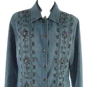 Chicos Western Denim Shirt Jacket Scroll Beaded